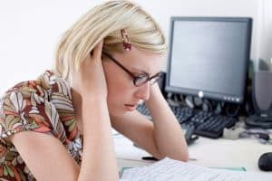 Picture Stress Woman Rating Bureaus Looking On Paper