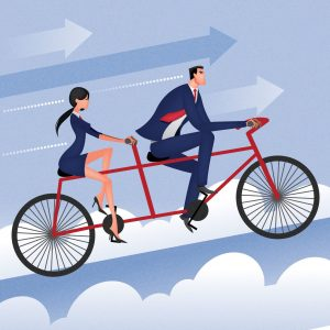 Graphic Man and Woman Cycling Great Risk Management Technique Doc In A Box