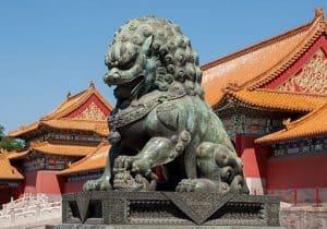 Beijng China Banking Crisis Forbidden city statue