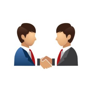 Vector Graphic Of Two Businessman IRS Advice Shake Hand