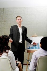 Picture Businessman Giving Presentation Rating Bureau Explanation