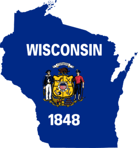 Map Of Wisconsin Workers Compensation Insurance With Badge