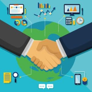 Vector Graphic Of Shake Hands Workers Compensation Action Network With Infographic Background