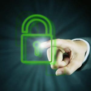 Index Finger Pointing Workers Compensation Data At Security Lock