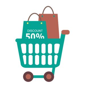 Cart With Discounted Experience Mod Vector Graphic