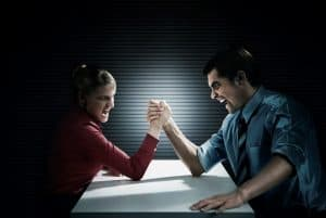 Man And Woman Gender Pay Gaps Arm Wrestling