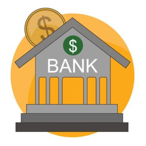 Graphic Of Bank Building NCPRIMA Presentation With Dollar Sign