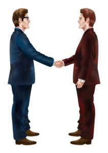Vector Graphic Of Two Employers Pending Unit Stat Date Shaking Hands