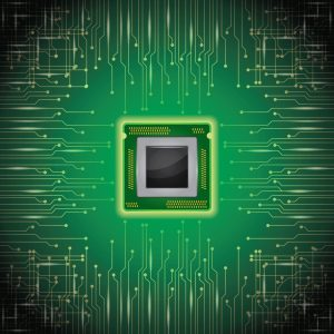 Graphic Micro Captives Chip on Circuit Board