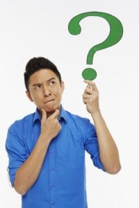 Picture of Man Holding up a Question Mark E-Mod X-Mod Reduction Symbol