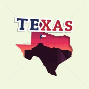 Map of Texas Claims With Flag Inside
