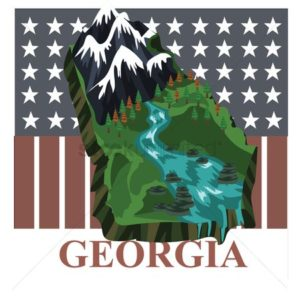 Map of Georgia Indemnity Payments Stars Mountains Forests river Graphic