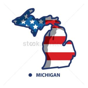 Map of Michigan Cuts Work Comp Costs on USA Flag