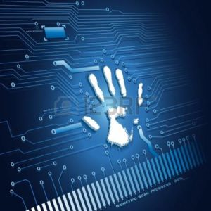 Vector Illustration of Analysing of Hand Scanning NCCI Coverage Verification App Abstract Background