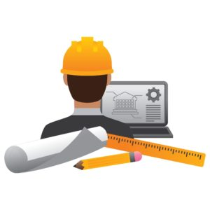 Graphic of Construction Worker Risk Safety Pro with Laptop and Tools