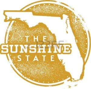 Graphic Map of Florida Workers Comp Was Eliminated USA State Sunshine