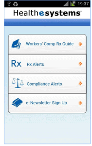 Screen of Android Work Comp Apps Healthesystems