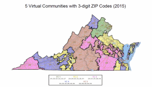 Virginia Map and 5 virtual communities Virginia rule 14 with 3-digit ZIP Codes graphic