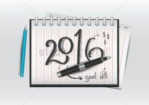 Drawing of 2016 on Notebook with Pen Workers Comp Resolutions Concept