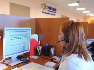Call Center Woman Work Comp Questions Using Computer
