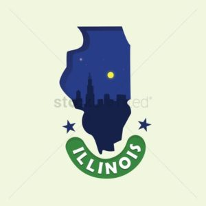 blue map of illinois fee schedule graphic