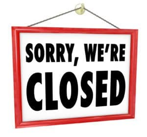sorry we're closed sign business insurance closed emblem from website
