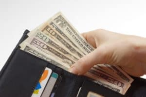Wallet With Money Work Comp Outpatient Hospital Charges Concept
