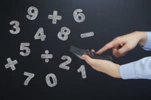 Hand Holding Calculator Workers Comp Math Number Concept