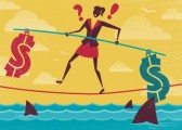 woman walking on rope with shark under the rope dangerous jobs graphic