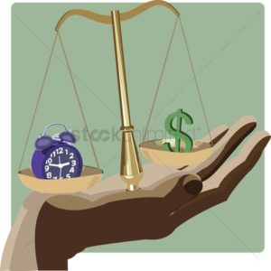 Law Scale On Hand North Carolina Work Comp Subrogation Clock And Dollar Sign on weighing on scale