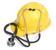 Yellow Workers Safety Helmet And Stethoscope Risk Management Techniques Concept