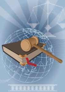 Graphic of WALSH Test For Jurisdiction Globe and weighing scale background