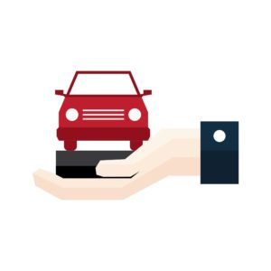 Hand With Red Car Workers Comp Insurance Agents Graphic