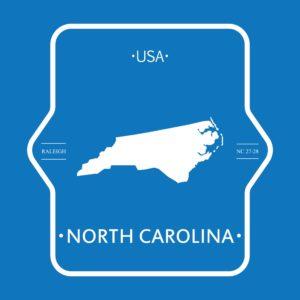 Map Of north carolina rate bureau In blue background