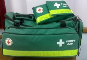 British Red Cross First Aid kit California WCIRB green bag
