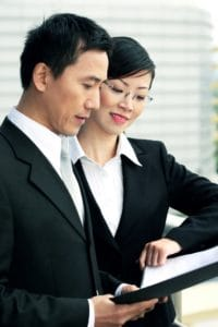 Woman Assistant Independent Contractor Employee Checklist With Man