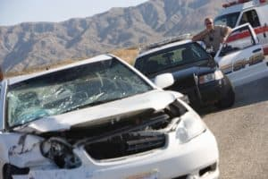 Car Accident Curve Sheriff Behind