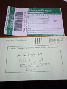 Picture of Certified Return Receipt Mail Forms