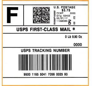 USPS Tracking Number Certified Return Receipt Mail First Class Mail