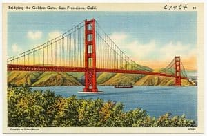 lithograph of California wcirb x-mod changes Golden Gate Bridge