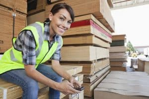 Woman Stay at Work Sitting on Wooden Planks