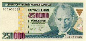 Picture of Turkish Money $250,000 claim reserve level