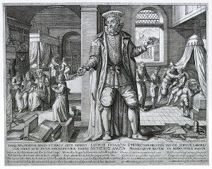 sketch of medical practitioner after treating injured worker