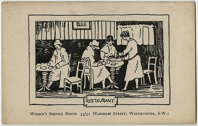 drawing of women workers comp accident restaurant service
