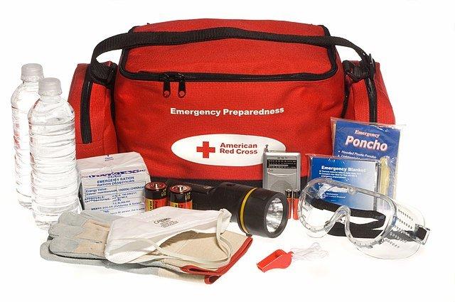 Red Emergency workers comp injuries kit